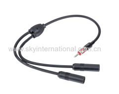 Antenna 1 Male to 2 Female Universal Antenna Y Adapter Cable for Car Audio