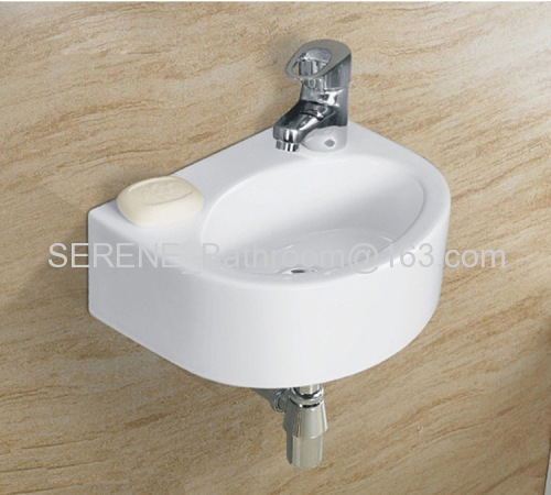 Sanitary ware Bathroom Ceramic White Color Oval Wall Hung Art Basin