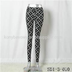 SD1-3-010 Women Fashion Sexy Woven Printing High-waist Close-fitting Leggings