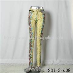 SD1-3-008 Women Fashion Sexy Woven Printing Of Tall Waist Skinny Leggings