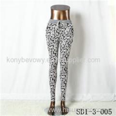 SD1-3-005 Women Fashion Sexy Woven Printing High-waist Slimming Leggings
