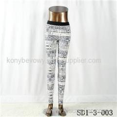SD1-3-003 Women Fashion Sexy Woven Printing High-waist Slimming Leggings