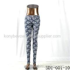 SD1-001-10 Black And White Woven Jacquard All-match Leggings