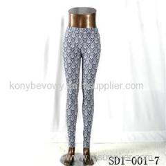SD1-001-7 Black And White Woven Jacquard All-match Leggings