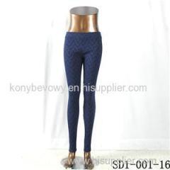 SD1-001-16 Royalblue Jacquard Woven Slim Leggings