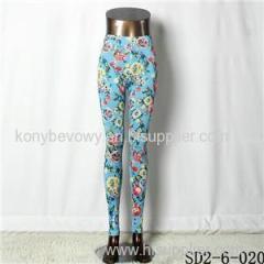SD2-6-020 Elastic Knit Floral Fashion All-match Leggings