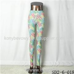 SD2-6-018 Popular Knit Fashion Maple Leaf Print Slim Leggings