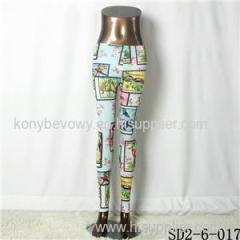 SD2-6-017 Popular Knit Fashion Lattice Log-cabin Print Leggings