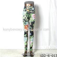 SD2-6-013 Popular Fashion Knit Flower Leaves Slim Leggings