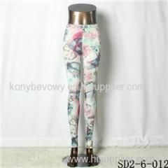 SD2-6-012 Popular Knit Elastic Leaves Print Refreshing Leggings
