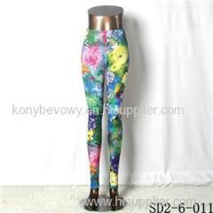 SD2-6-011 Fashion Knit Low-waist Sea Print Leggings