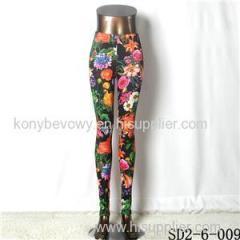 SD2-6-009 Popular Knit Elastic Flower Print Sexy Leggings