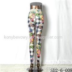 SD2-6-008 Knit Elastic Lattice And Flower Match Print Slim Leggings