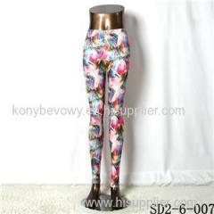 SD2-6-007 Knit Elastic Mosaic Print Fashion Leggings
