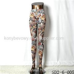 SD2-6-005 Popular Knit Elastic Birdie Print Leggings