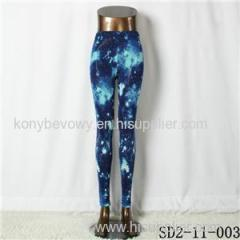 SD2-11-003 Latest Fashion Knit Colorful Starry-sky Print Slim Leggings