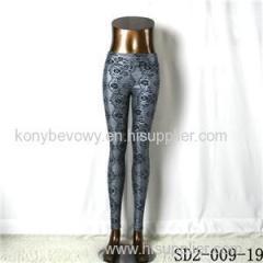 SD2-9-019 High-elastic Slim Fashion Light Yogon Print Sexy PU Leggings