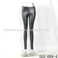 SD2-9-004 High-elastic Slim Fashion Light Yogon Grid PU Sexy Leggings