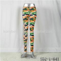 SD2-1-041 Fashion Knit Camouflage Bright Elastic Slim Leggings