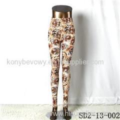 SD2-13-002 Fashion Knit Tiger Head Print Slim Leggings
