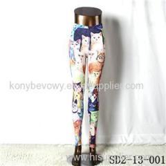 SD2-13-001 Fashion Knit Middle Children Print Fashion Leggings