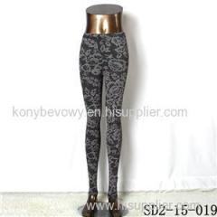 SD2-15-019 New Style Popular Knit Black&white Flower Slim Leggings