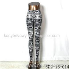 SD2-15-014 New Style Popular Knit Black And White Sun-flower Slim Leggings
