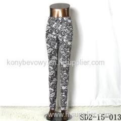 SD2-15-013 New Style Popular Knit Black&white Sun-flower Slim Leggings