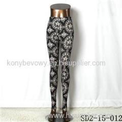 SD2-15-012 New Style Popular Knit Black And White Sun-flower Slim Leggings