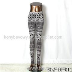 SD2-15-011 New Style Popular Knit Black And White Sun-flower Slim Leggings