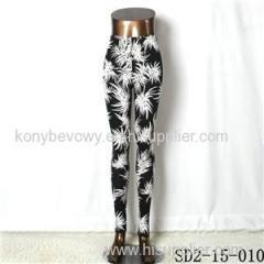 SD2-15-010 New Style Popular Knit Black And White Flower Slim Leggings