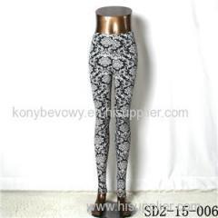 SD2-15-006 New Style Popular Knit Black And White Sun-flower Slim Leggings