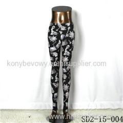 SD2-15-004 New Style Popular Knit Black And White Sun-flower Slim Leggings