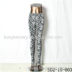 SD2-15-003 New Style Popular Knit Black And White Sun-flower Slim Leggings