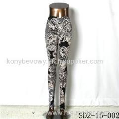 SD2-15-002 New Style Popular Knit Black And White Sun-flower Slim Leggings