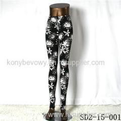 SD2-15-001 New Style Popular Knit Black And White Sun-flower Slim Leggings