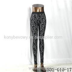 SD2-10-017 Fashion Popular Knit Jacquard High-waist Flower Leggings