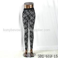 SD2-10-015 Fashion Popular Knit Jacquard High-waist Flower Skinny Leggings