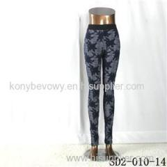 SD2-10-014 Fashion Popular Knit Jacquard High-waist Flower Skinny Leggings