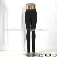 SD2-10-013 Fashion Popular Knit Jacquard High-waist Black Slim Leggings