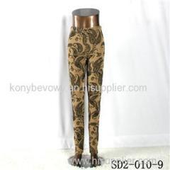 SD2-10-009 Latest Fashion Knit Jacquard High-waist Yellow Leggings
