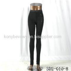 SD2-10-008 Latest Fashion Knit Jacquard High-waist Black Slim Leggings