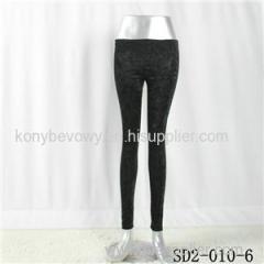 SD2-10-006 Latest Fashion Knit Jacquard Low-waist Black Slim Leggings