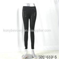 SD2-10-005 Latest Fashion Knit Jacquard Low-waist Black Slim Leggings