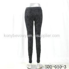 SD2-10-003 Latest Fashion Knit Jacquard Low-waist Black Slim Leggings