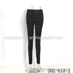 SD2-10-002 Latest Fashion Knit Jacquard Low-waist Black Slim Leggings
