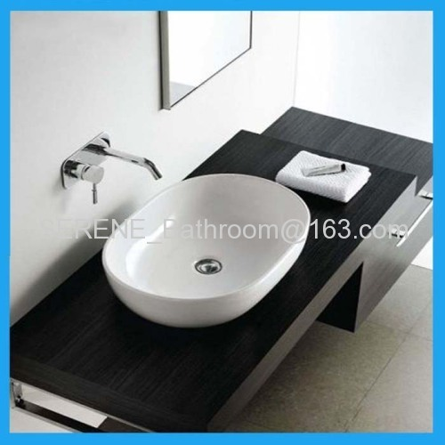 Hot sell modern design popular ceramic white color oval counter top wash basin