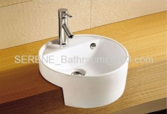 Sanitary ware ceramic white color semi recessed wash basin