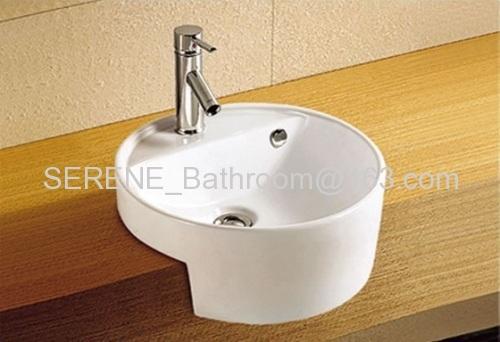 Sanitary ware ceramic white color semi recessed wash basin