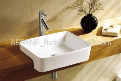 Sanitary ware Bathroom Ceramic White Color Semi Recessed Art Wash Basin